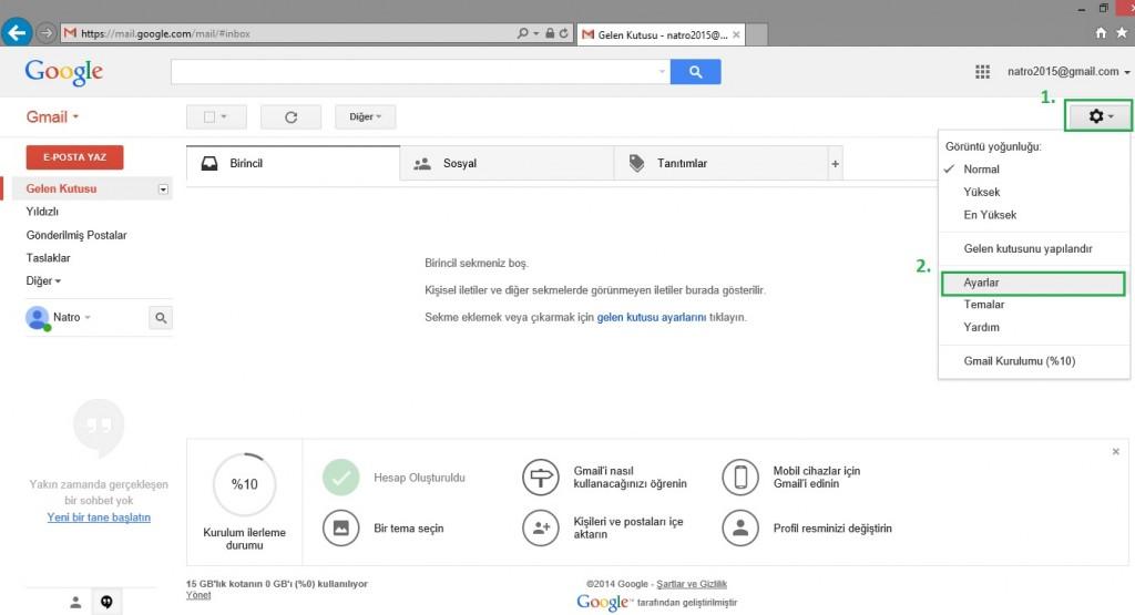 Gmail Üzerine E-posta Kurulumu