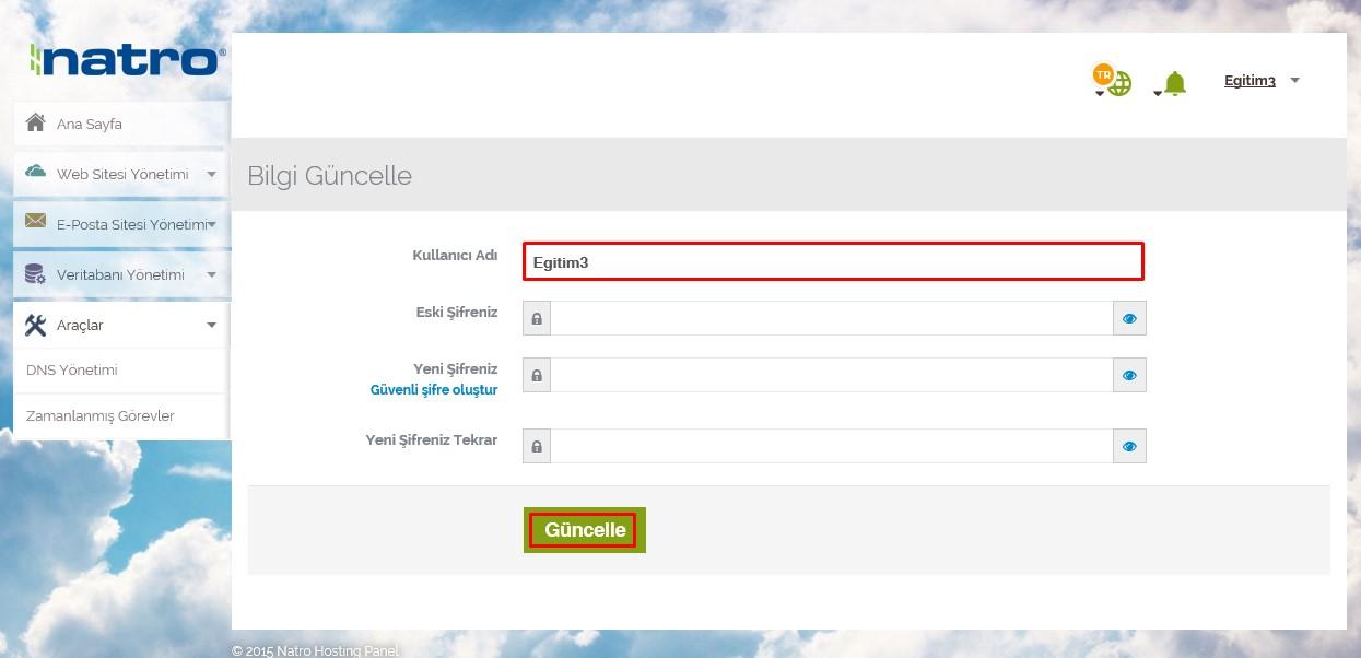 natro yeni panel şifre değiştir