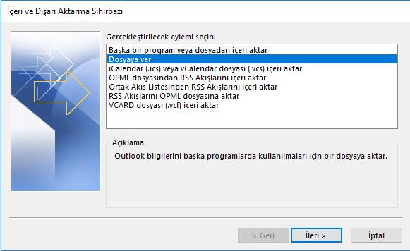 Outlook içeri/ dışarı aktar